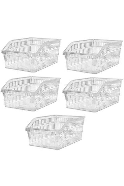 Buzdolabı Sepeti Dolap Içi Düzenleyici Sepet Organizer 5 Adet Şeffaf Büyük Boy 30x20x13 Cm