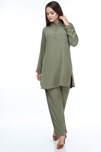 Kadın Güpür Detaylı Takım Yeşil