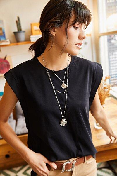 Kadın Siyah Koltuk Altı Parçalı Yarasa T-shirt TSH-19000330