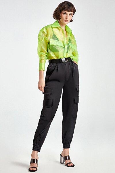 Kadın Siyah Saten Yüzeyli Kargo Pantolon N20Y-3215-0002