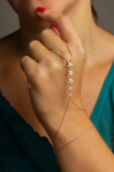 Kadın Beyaz Taşlı Yıldızlı Şahmeran - Rose Bl-0128
