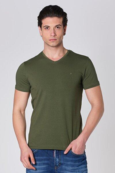 V Yaka Likralı Pamuk T-Shirt Haki Dbk121054