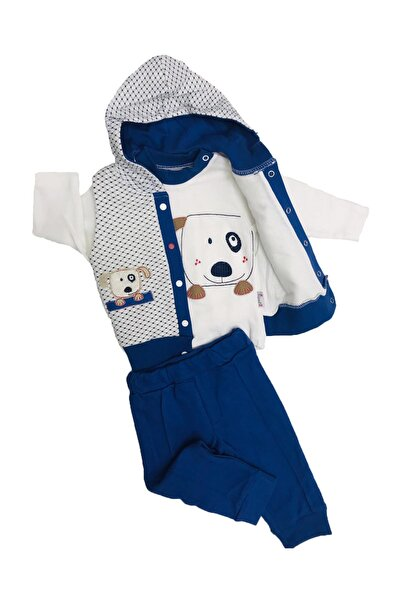 Erkek Bebek Mavi Üçlü Takım 096