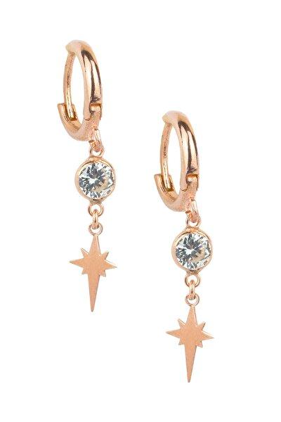 Kadın 925 Ayar Gümüş  Kuzey Yıldızı Küpe - Rose Kp-0117
