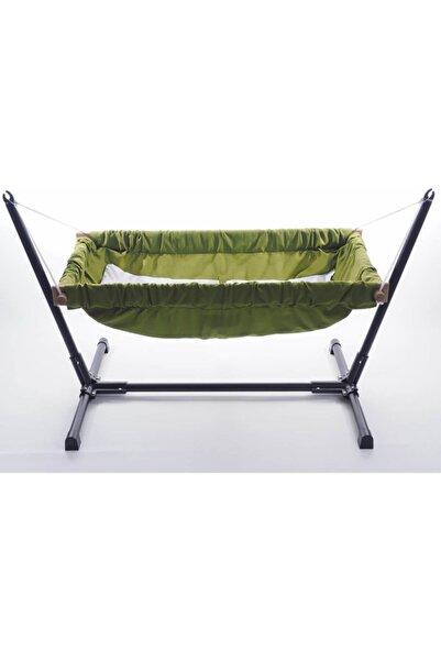 Standlı Ahşap Bebek Hamak Beşik (Yeşil)