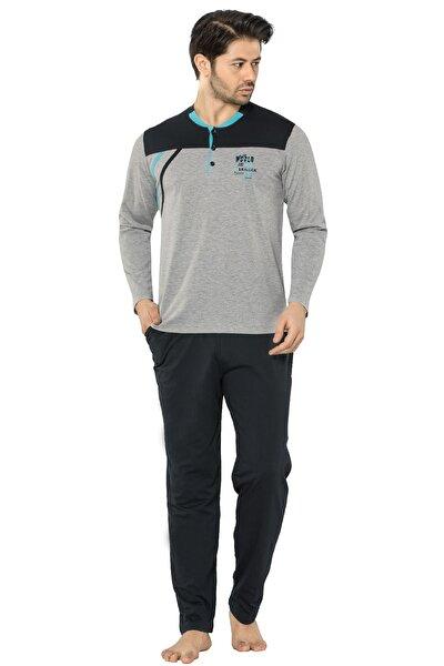 Birşen Erkek Pijama Takım Mavi Siyah Çizgili, Üst Gri Siyah,yuvarlak Yaka, Üç Düğmeli