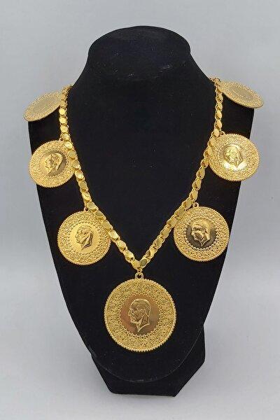 Altın Kaplama 60cm Halep Arpa Pullu Zincir Gramise Tam Altın Kadın Kolye