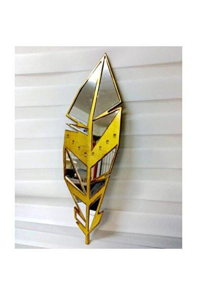 Rosa Yaprak Ayna Gold 20*69 Cm.