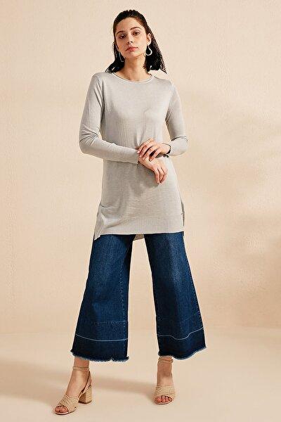 Kadın Geniş Yaka Yırtmaçlı Triko Tunik Gri B20 Trk14