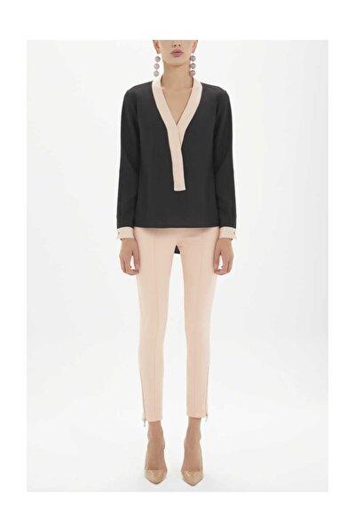 Kadın Kontrast Renkli Bol Kesim Bluz Siyah 19255 M03141019255101