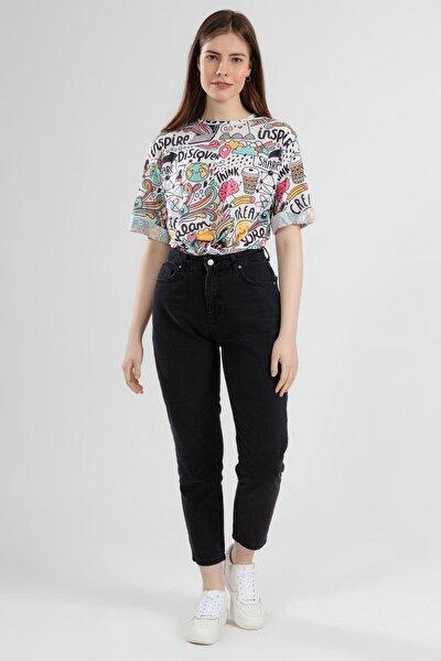 Kadın Yüksek Bel Mom Fit Kot Pantolon 10312