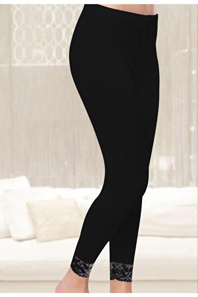 Kadın Uzun Dantelli Tayt 6'lı Paket Siyah