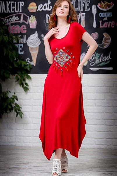 Kadın Kırmızı Bohem Dev Tribal Püsküllü Nakışlı Asimetrik Salaş Elbise  M10160000EL97292