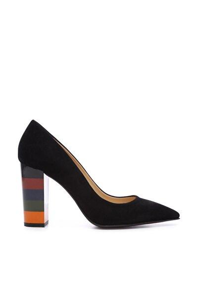 Siyah Kadın Vegan Kalın Topuklu Ayakkabı 22 2034 BN AYK