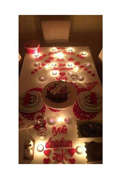 25 Parça Romantik Doğum Günü Masa Süslemesi Kırmızı Keçe Seti