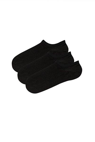 Kadın Siyah Super Fit 3Lu Babet Çorabı