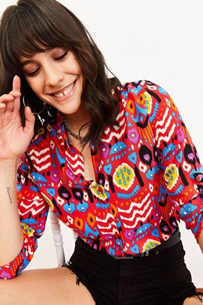 Kadın Multi Desenli Uzun Kol Katlamalı Gömlek Kırmızı 10061007