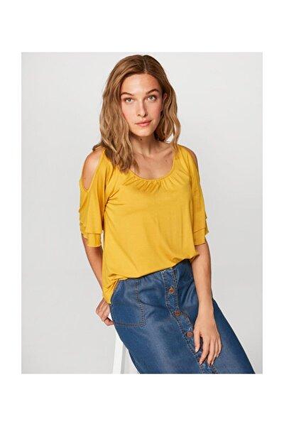 Kadın  Sarı Yuvarlak Yaka Omuz Dekolteli T-shirt 60024