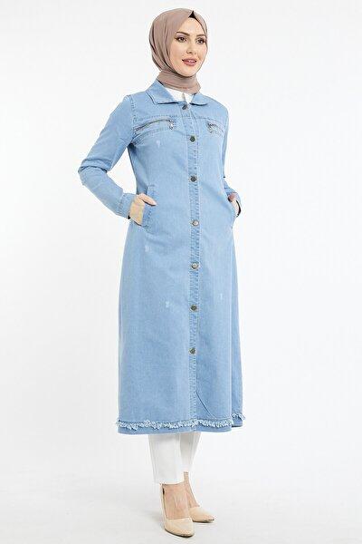 Kadın Uzun Cepli Kot Ceket - Mavi