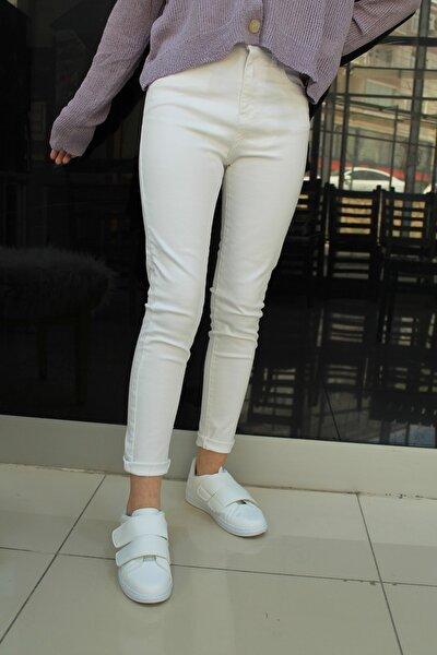 Beyaz Paçası Püskül Jean Pantolon-iç Göstermeyen Beyaz