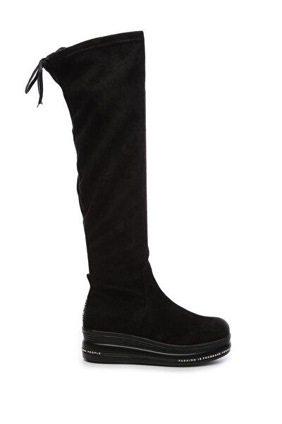 Hakiki Deri Siyah Kadın Çizme Çizme 744 20480 C BN AYK SK19-20