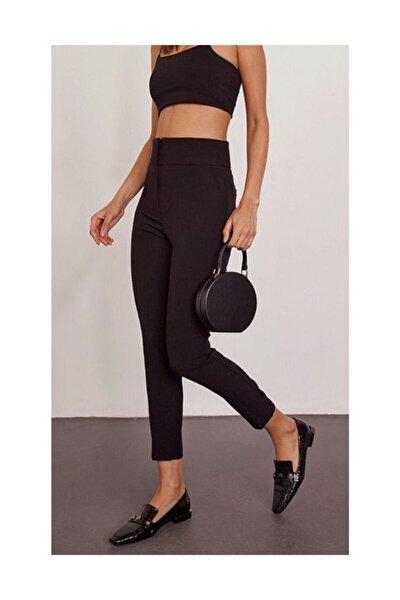 Kadın Yüksek Bel Bilek Pantolon Siyah