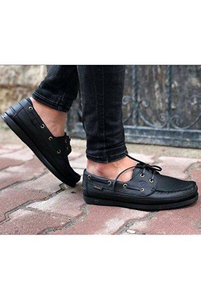 Erkek Hakiki Deri Siyah Günlük Ayakkabı