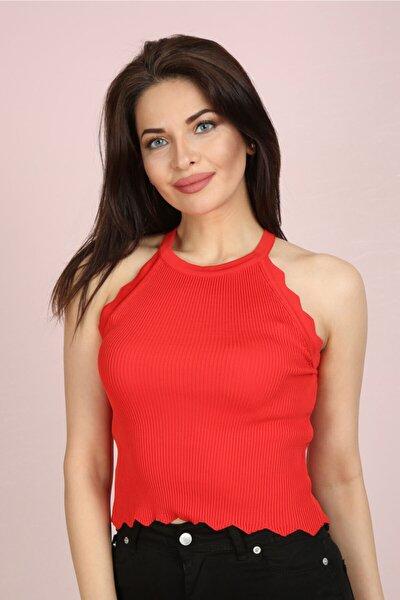 Kadın Kırmızı Halter Yaka Fırfırlı Yazlık Triko Bluz
