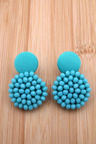 Mavi Kristalli Tasarım Düğme Küpe