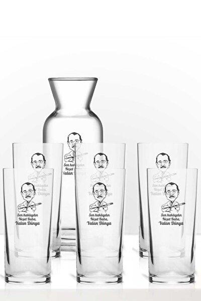 Neşet Ertaş Baba Yalan Dünya Renkli Baskılı Altılı Rakı Bardağı Karaf Kadeh Set