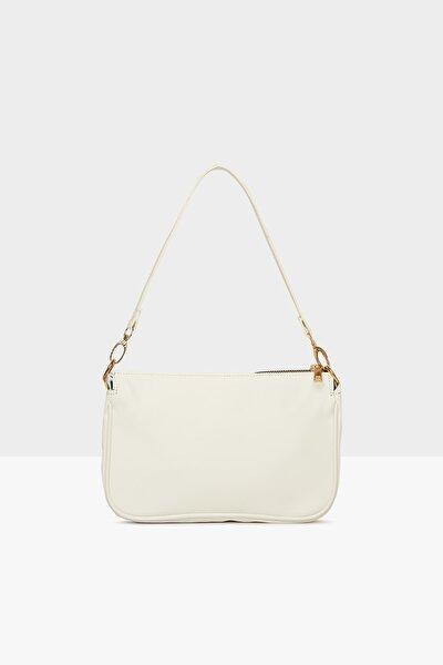 Beyaz Kadın Saten Fitilli Baget Çanta M000004464
