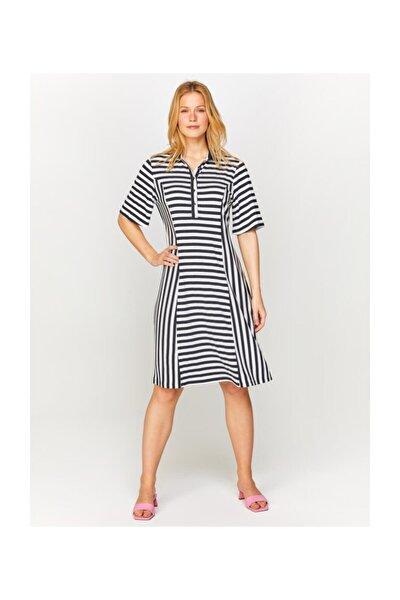 Kadın Lacivert Polo Yaka Çizgili Örme Elbise 60275 U60275