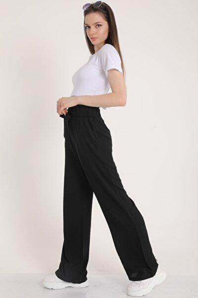 Kadın Siyah Bel Lastikli Kemerli Salaş Pantolon  Mdt5181