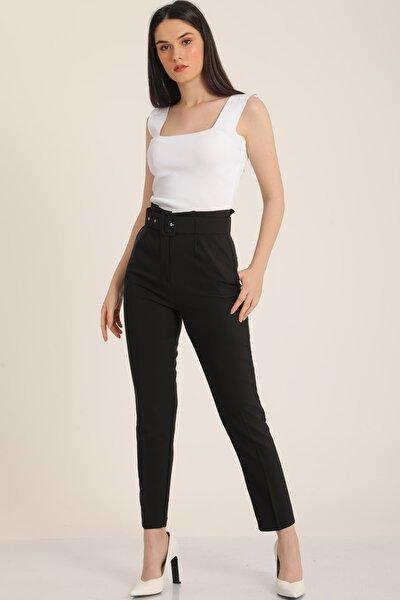 Kadın Siyah Kemerli Yüksek Bel Kumaş Pantolon Mdt5032
