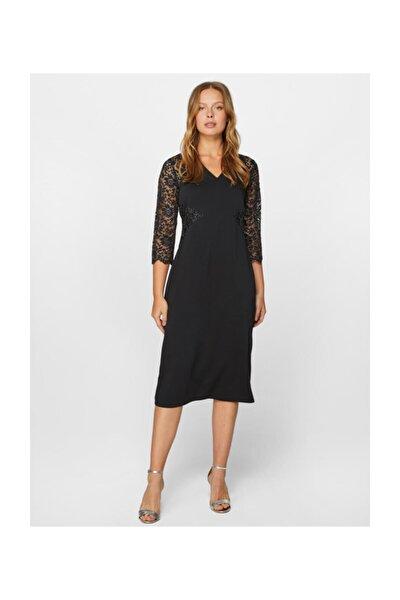 Kadın Siyah Dantel Detaylı Abiye Elbise 60102 U60102