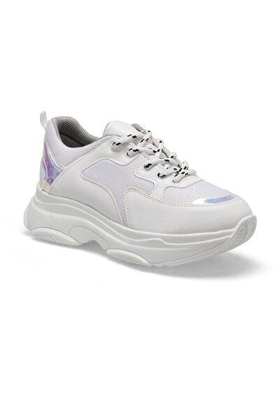 19SF-1501-19K Beyaz Kadın Kalın Taban Sneaker Spor Ayakkabı 100481744