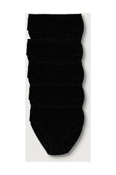 Kadın Siyah 5'li Paket  Ribana Bato Külot ELF568T0922CCM5 Siyah S