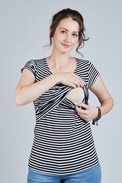 Siyah Beyaz Çizgili Hamile Ve Emzirme Tişörtü Poliviscon Esnek Kumaş