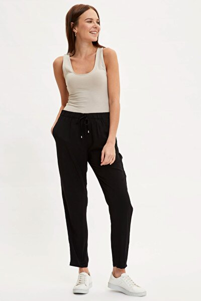 Kadın Siyah Harem Elastik Belli Dokuma Pantolon L3164AZ.20SM.BK27