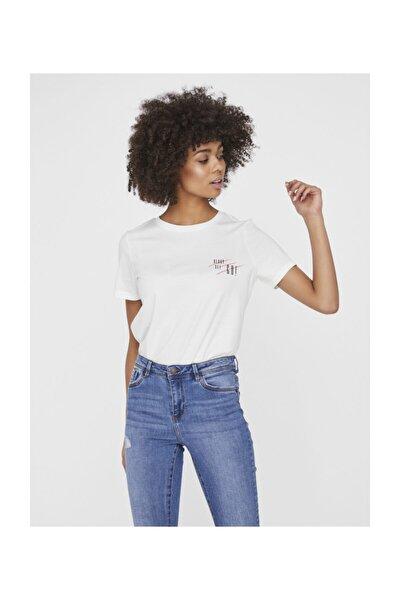 Kadın Beyaz Beyaz Kısa Kollu Baskılı Organik Pamuk T-Shirt 10223497 VMFONDAOLLY