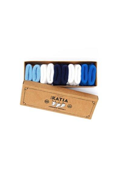 Unisex Bebek Beyaz/Mavi Renkli Yenidoğan Organik 5 li Çorap