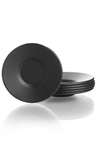 Mat Siyah Lüx Metal 6'lı Çay Tabağı