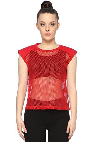 Kadın Bisiklet Yaka Kırmızı Tshirt 1074507