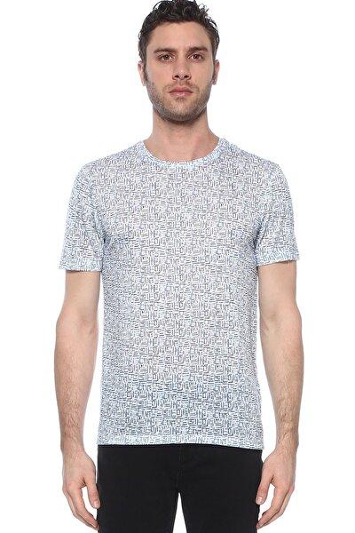Erkek Slim Fit Mavi Beyaz Tshirt 1074398