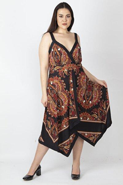 Kadın Kahve Mendil Elbise 65N15983