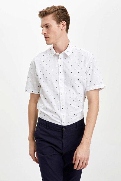 Erkek Beyaz Mikro Desenli Modern Fit Gömlek R1490AZ.20SM.WT34