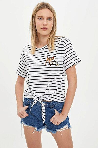 Kadın Beyaz Belden Bağlamalı Mickey&Minnie Lisanslı Kısa Kollu T-Shirt R2311AZ.20SM.WT34