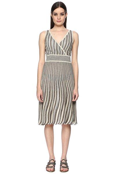 Kadın Çizgili Ekru-Safran Elbise 1066396