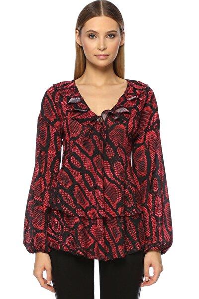 Kadın V Yaka Kırmızı-Siyah Bluz 1070956