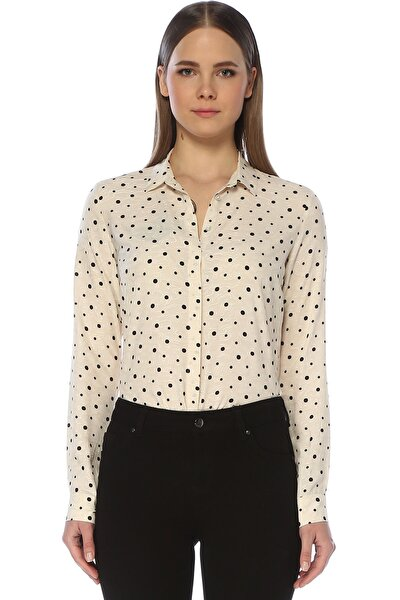 Kadın Puantiye Bej Gömlek 1073324